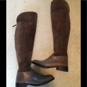 Tory Burch Simone taupe riding boot over knee Sz 8